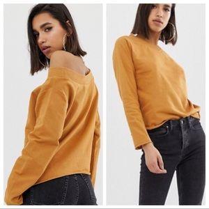 ASOS | Off the Shoulder Mustard Long Sleeve Top